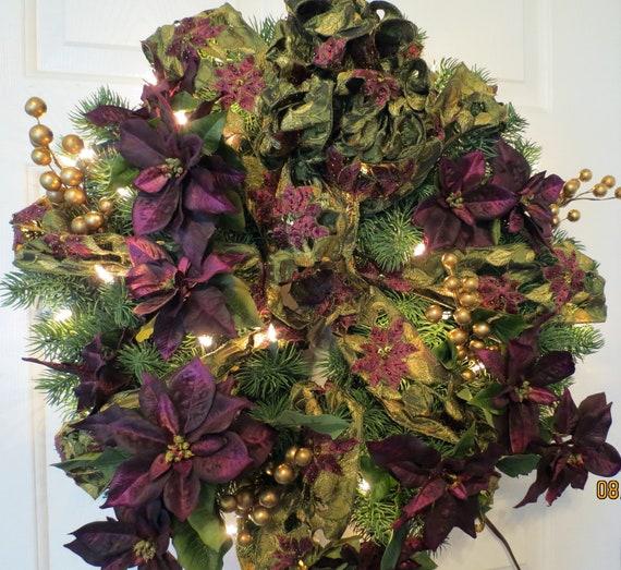 Items similar to purple poinsettia wreath christmas for 5ft poinsettia garland christmas decoration