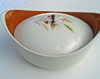 Taylor Smith Taylor Autumn Harvest Pattern - Covered Oval Casserole - Ever Yours Shape Mid Century