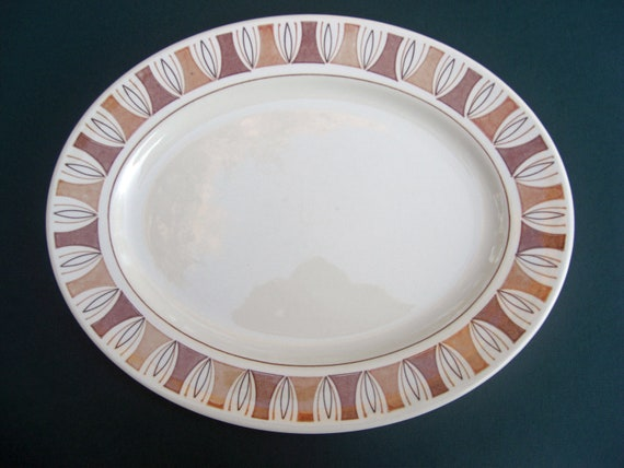 Taylor Smith & Taylor Taylorstone Etruscan Pattern Geometric Large Oval Serving Platter Mid Century