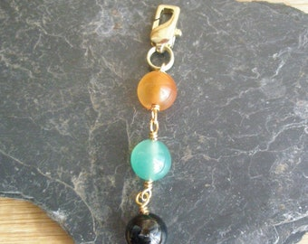 Gold Plated Wire and Dyed Agate Purse Charm/Bead Purse Charm/Zipper Pull