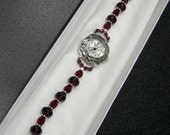 Custom for Kathryn - Purple and deep red crystal watch