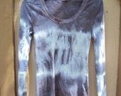 Women's Plus Size Tye Dyed scoop neck long sleeve stretch T-shirts purple black white
