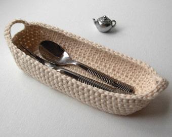 Cotton Basket Crochet Basket natural white