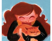 Potter Pets - Hermione & Crookshanks: Art Print