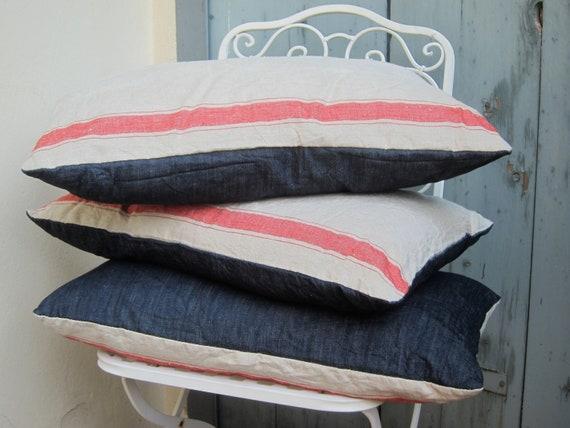 Set of 2 pillows, antique belgian striped linen with indigo denim back