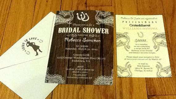 Wedding Invitation Registry Wording: Items Similar To Western BBQ Bridal Shower Invitations