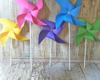 Carribean Splash Pinwheels - Set of 5 Bright and Colorful Pinwheels