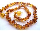 Cognac Nuggets Baltic Amber Baby Teething Necklace 31 Cm