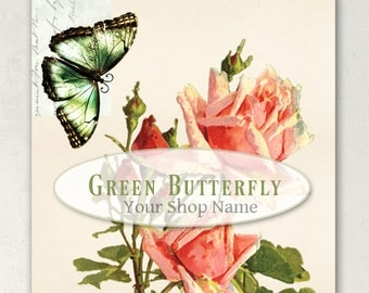 ETSY SHOP BANNERS Green Butterfly