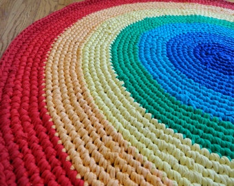 Custom Rainbow Rag Rug -- 3' Diameter