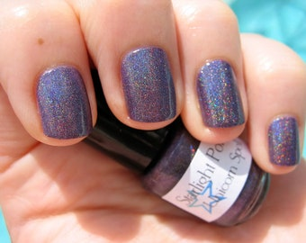Unicorn Spell Violet Holographic Duochrome Color Shifting Custom Nail Polish 15mL