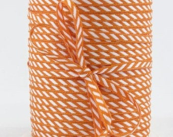 ORANGE Solid/Diagonal Stripes RIBBON - Stationery, Packages, Homemade Gifts, Tags, Cards, DIY, Crafts, Shower, Party