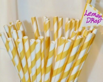 30 Yellow Striped Paper Straws, Paper Drinking Straws, Party,  Wedding, Birhday, Events