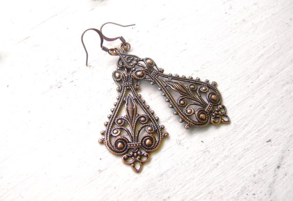 CLEARANCE SALE - Antique Copper Filigree Earrings - Ornate Bohemian Charms - ROMANI Collection
