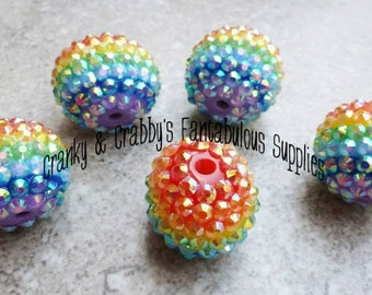 22mm Resin Rainbow Rhinestone Beads set of 10 - Basketball Wives - Focal Bead