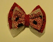 Red and White Holiday Candy Cane Hair Bow