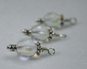Micro Faceted Bead Charms - for earrings or pendants (3)