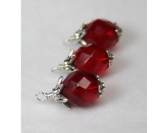 Hand Wrapped Red Faceted Czech Bead Charm, Wire Wrapped Bead Dangles - Set of 3