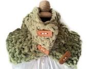 Crochet Neckwarmer Cowl Neck Wrap Multiscarf Green Chunky Texture Microfiber Ecofriendly Wood Button Light Green OOAK Handmade - KrissWool