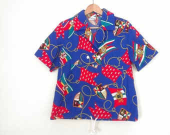 80s vintage nautical flags shirt medium eighties