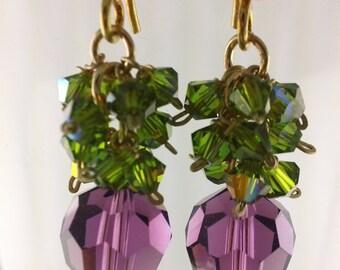 Swarovski Amethyst and Green Crystal Earrings