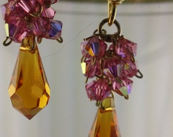 Amber and Fuschia Swarovski Earrings.