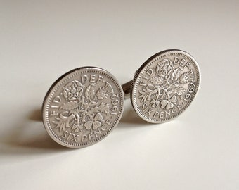 1962 Sixpence Coin Cufflinks, British 1962 Lucky Sixpence, 56th Birthday gift for him.