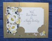 1900s Birthday Card with Elegant Gold and Buttery Yellow Sylized Flowers