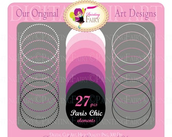 Digital clipart Paris chic elements Frames Circles Labels Girl Clipart purple pink clipart Frames Scrapbooking Circle clipart pf00043-1