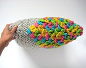 COLORFUL KNITTED CUSHION - handmade decorative throw pillow with neon multicolored crocheted scale stitches for your home