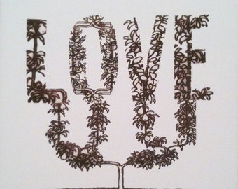 Love Topiary Art Print on Canvas