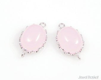 2pcs - Cloudy Pink and Silver Framed oval Connector / ice pink / pink / rhodium plating / glass / 9.5x16mm / SPKS003-C