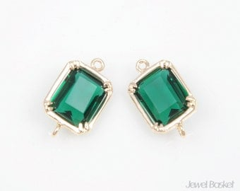 MARKDOWN - Emerald Color and Gold Framed Glass Connector - 2pcs Emerald Color Rectanglar Connector, 9mm x 16mm / SEMG006-C