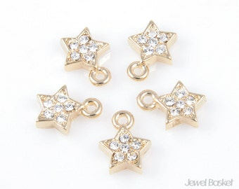 CG010-P (5pcs) / O Ring Star Cubic Pendant / 9.5mm x 7mm