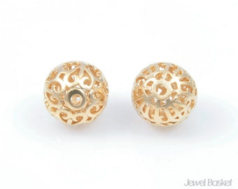 PMG014-C (2pcs) / Goldden Ball Bead / 12mm