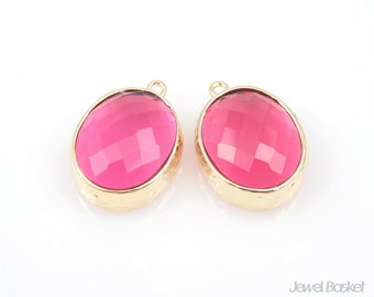 2pcs - Ruby Color and Gold Framed Glass Oval Pendent / ruby / red / fuchsia / 16k gold plated / glass / 12 x 16mm / SREG009-P