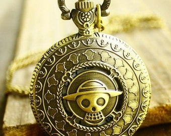 1pcs 40mmx40mm Bronze Straw hat Skeleton doll pocket watch charms pendant PW0552