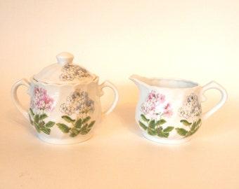 Vintage Floral Ceramic Pottery Cream and Sugar Set  Pink and Blue Takahashi San Francisco Primula Creamer and Sugar Set  - Japan