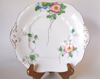 Vintage China Cake Plate Floral Adderley English Bone China Floral Cake Serving Plate with Handles and Gold Trim - England - Mid Century