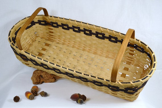 Long Shaker Style Handwoven Basket with Handles and Black Accent