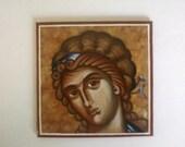 Byzantine Icon, Angel, Mini Canvas Board 4 in. X 4 in.