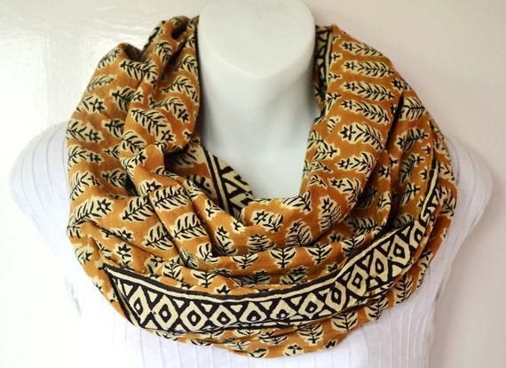 Caramel Infinity Scarf - Hand block printed, All Natural Vegetable Dyes, 100% Cotton Loop Scarf, Infinity Cowl, Tube Scarf