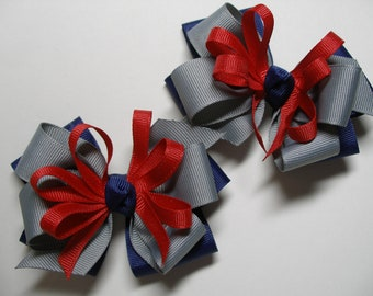 Hair Bows Pig Tail Pair Navy Blue  Gray Red Back to School UNIFORM Toddler Girl Grosgrain set of 2