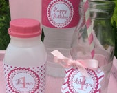 24 Plastic Milk Jug Party Bottles with Lids and a Custom PDF Printable Label