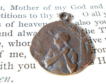 St. Joan of Arc - At the Stake - Religious Medal - Catholic Medal - Bronze or Sterling Silver (SF13-1069)