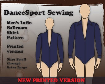 Men's Latin ballroom shirt sewing pattern, PRINTED Version