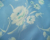 FABRIC SALE! 2 Yards White Airbrush Peony Print on Light Blue Polyester Vintage Fabric 72 x 62 Wedgewood Bouquet