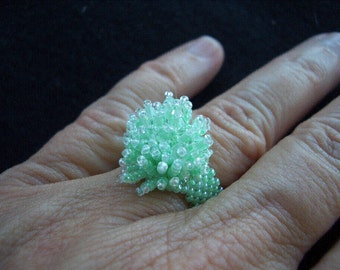 Mint Green Crystal Beaded Ring
