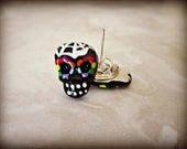Rainbow Sugar Skull Rockabilly Pin Up Earrings