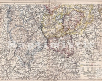 1897 Provinces of Kingdom of Prussia - Southern part - Rhine, Westphalia and Grand Duchy of Hesse Dated Antique Map